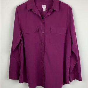 Chico's Maroon Silky Sift Button Down Shirt